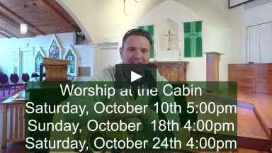 Worship at the Cabin invitation
