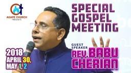 Special Gospel Meeting with Rev. Babu Cherian _ 2018 April 30, May 1, 2